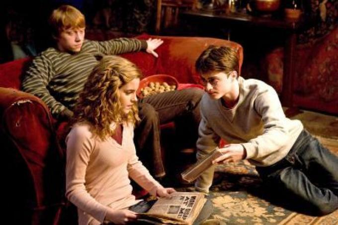 Harry, Ron ed Hermione nella Sala Comune