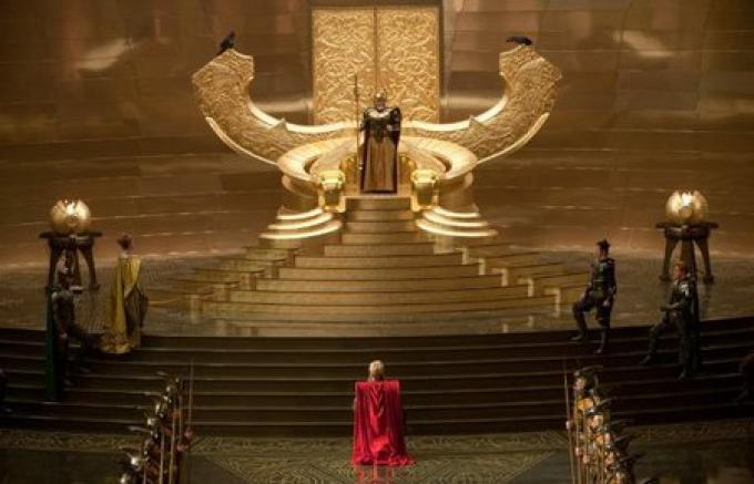 Thor al cospetto di Odino ad Asgard