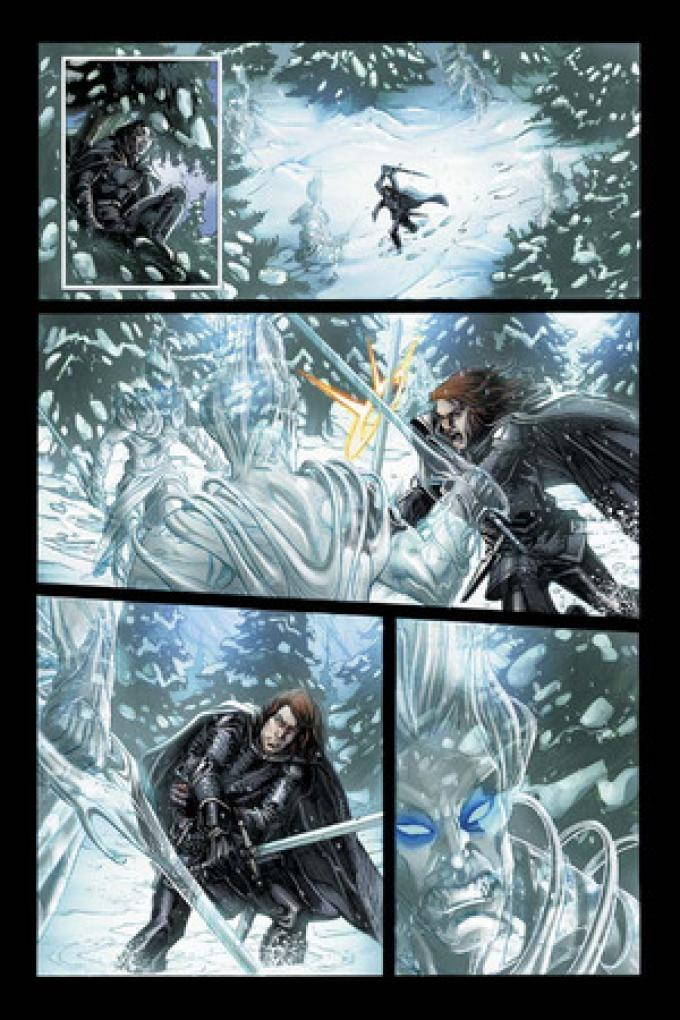 Lo scontro fra Ser Wyman Royce e l'Estraneo. Da notare Will seduto sull'albero, dettaglio che conferma l'adattamento dal romanzo e non dalla serie televisiva. Dal prologo.