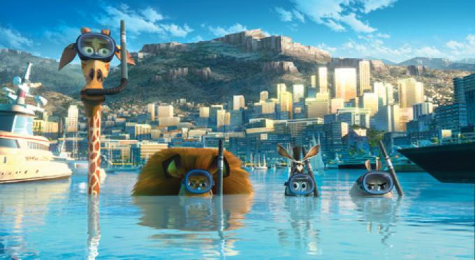 Madagascar 3: Melman, Alex, Marty e Gloria.