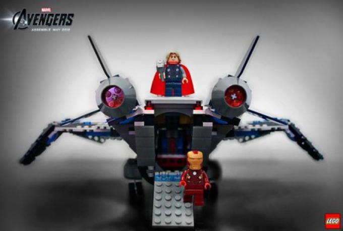 Il quinjet di LEGO Avengers, vista del retro