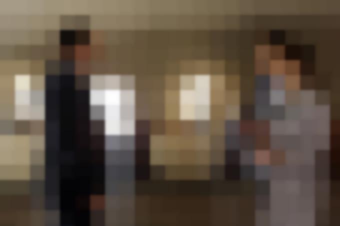 Clark Gregg (Agente Coulson), Iain De Caestecker (Agente Leo Fitz) e Elizabeth Henstridge (Agente Jemma Simmons)