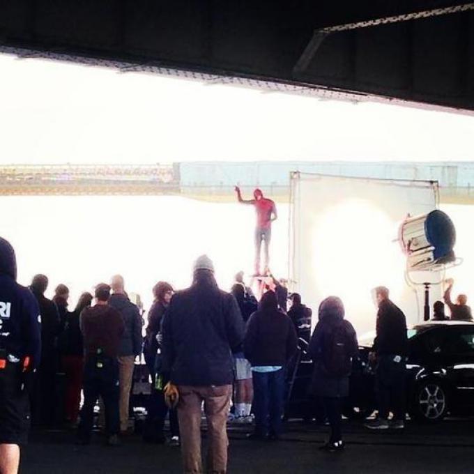 Spider-Man in azione sul set