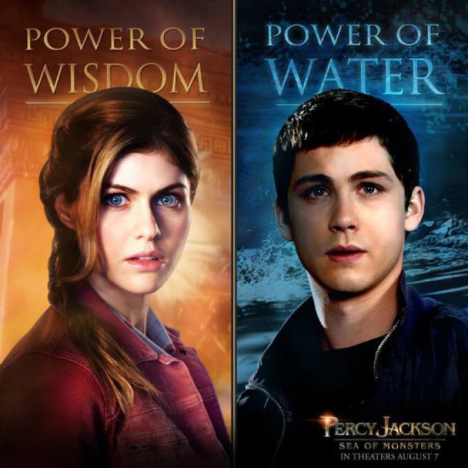 I poster internazionali dedicati ad Alexandra Daddario (Annabeth) e Logan Lerman (Percy)