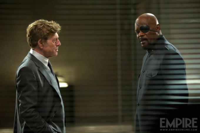 Robert Redford e Samuel L. Jackson in Captain America: The Winter Soldier