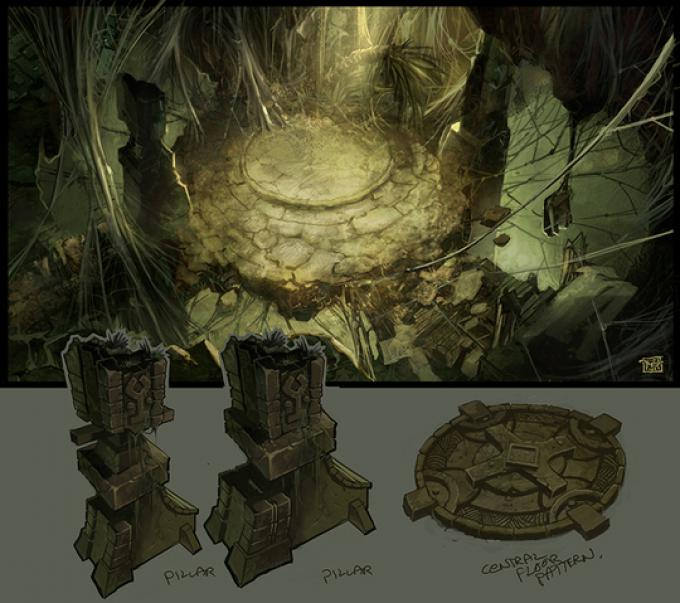 Concept art - grotta della regina ragno