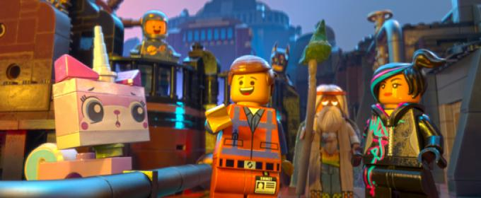 LEGO® minifigures Unikitty (voiced by ALISON BRIE) Benny (CHARLIE DAY), Emmet (CHRIS PRATT), Batman (WILL ARNETT), Vitruvius (MORGAN FREEMAN) and Wyldstyle (ELIZABETH BANKS)