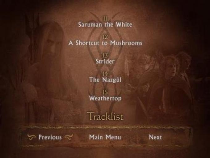 Il menu del dvd
