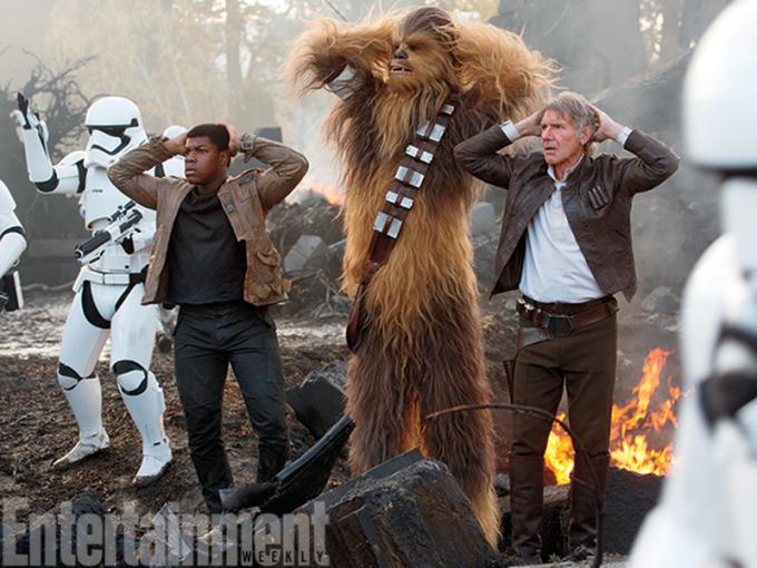 Finn, Chewbacca, Han Solo