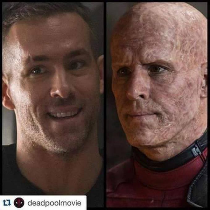 Ryan Reynolds con e senza il trucco di Deadpool