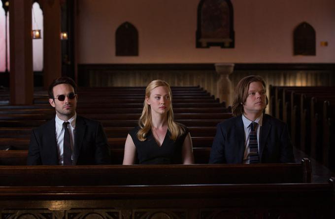 Charlie Cox (Matt Murdock), Deborah Ann Woll (Karen Page) ed Elden Henson (Foggy Nelson)