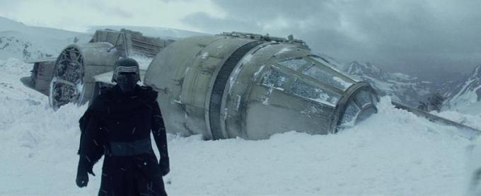 Kylo Ren enter the Millennium Falcon