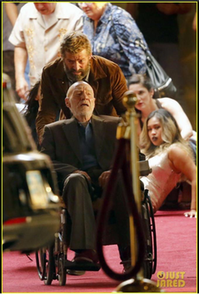 Hugh Jackman (Wolverine) e Patrick Stewart (Professor X) sul set