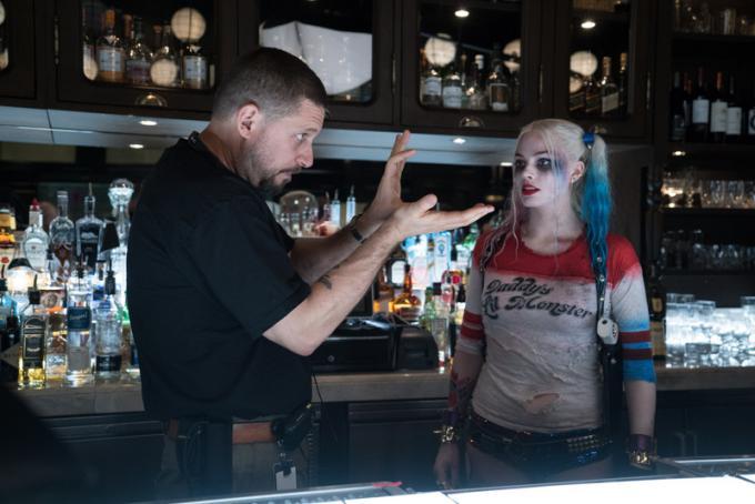 Il regista David Ayer e Harley Quinn (Margot Robbie)