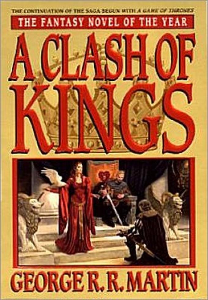 La copertina dell'edizione rilegata di A Clash of Kings realizzata da Bantam nel 1999. Illustrazione di Stephen Youll.