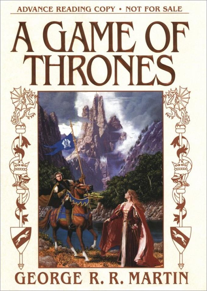 La copertina dell'Advance Reading Copy di A Game of Thrones realizzata da Bantam nel 1996. Illustrazione di Stephen Youll
