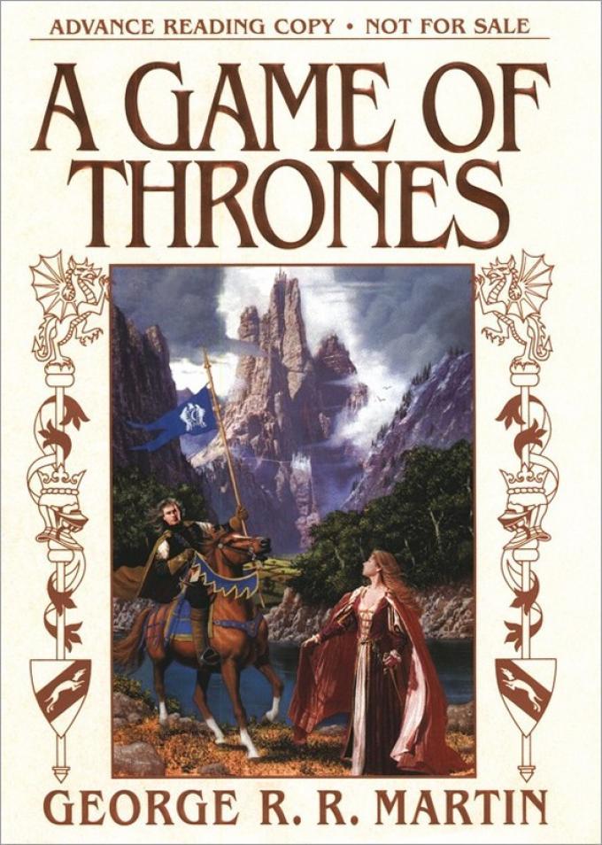 La copertina dell'Advance Reading Copy di A Game of Thrones realizzata da Bantam nel 1996. Illustrazione di Stephen Youll