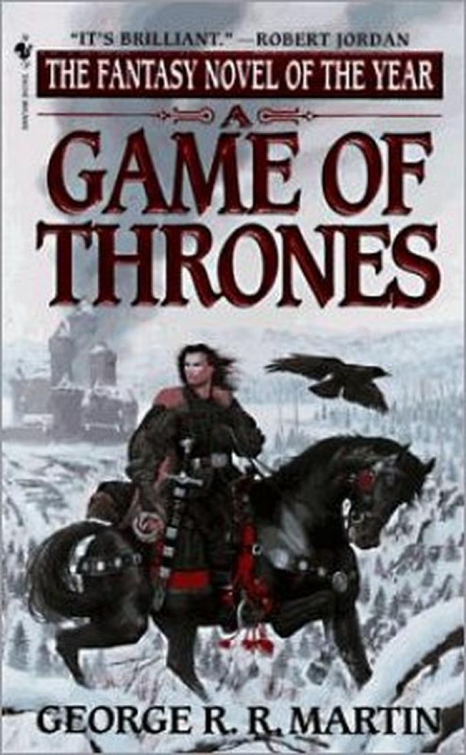 La copertina dell'edizione paperback di A Game of Thrones realizzata da Bantam nel 1997. Illustrazione di Stephen Yull.