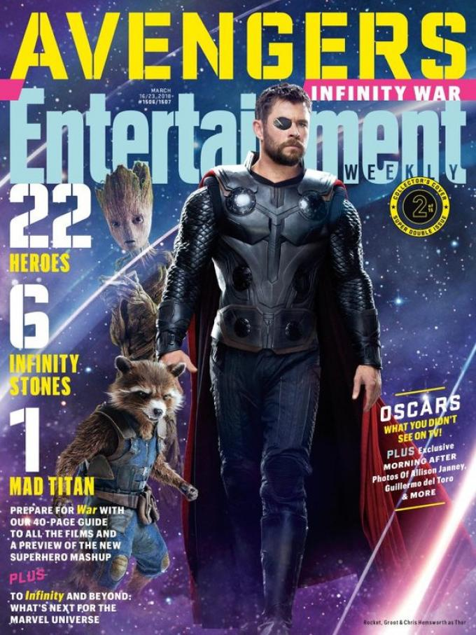 La cover di Entertainment Weekly dedicata a Teen Groot, Rocket Raccoon e Thor