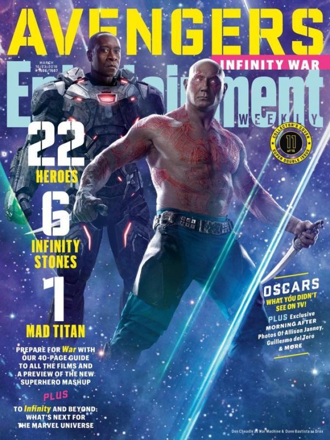 La cover di Entertainment Weekly dedicata a War Machine e Drax