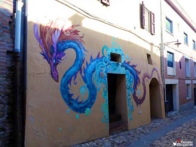 Il murales dipinto da Paolo Barbieri in occasione di Fantastika, Dozza (BO)