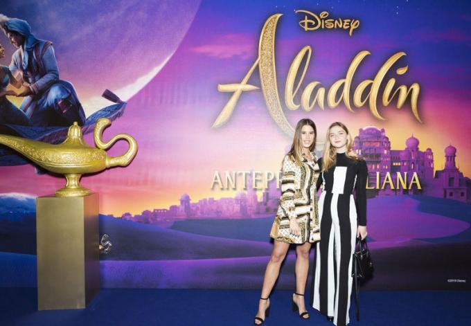 Alice Luvisoni e Leonciino all'anteprima di Aladdin a Milano.