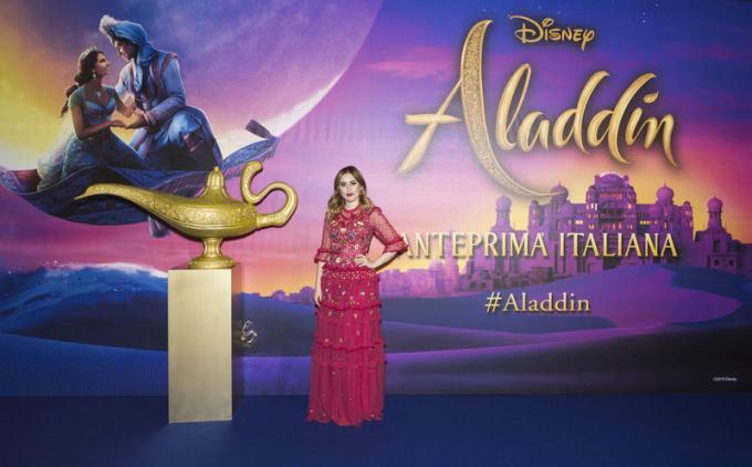 Cleo Toms all'anteprima di Aladdin a Milano.