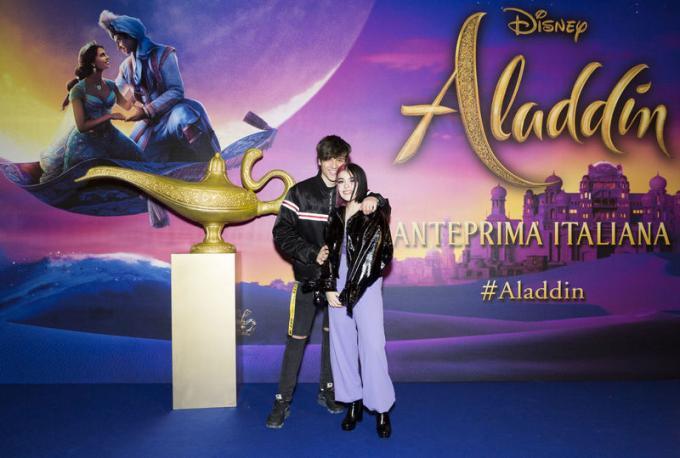 Edoardo Esposito e Rosalba all'anteprima di Aladdin a Milano.