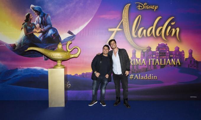 Farid Shirvani e Gordon all'anteprima di Aladdin a Milano.