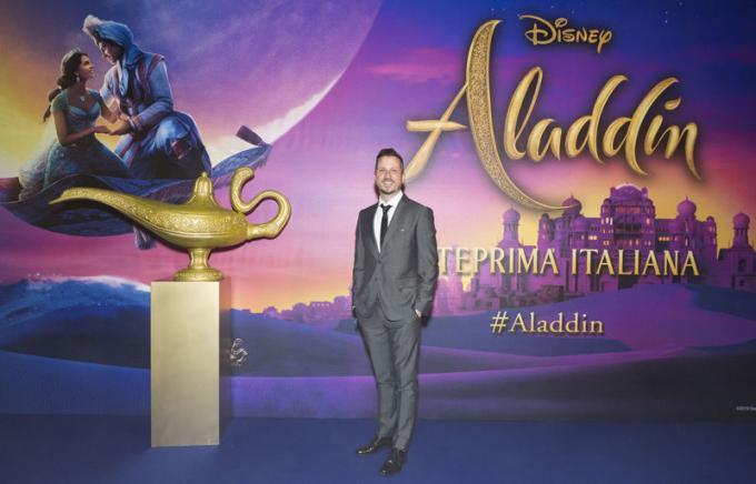 Francesco Arienzo all'anteprima di Aladdin a Milano.