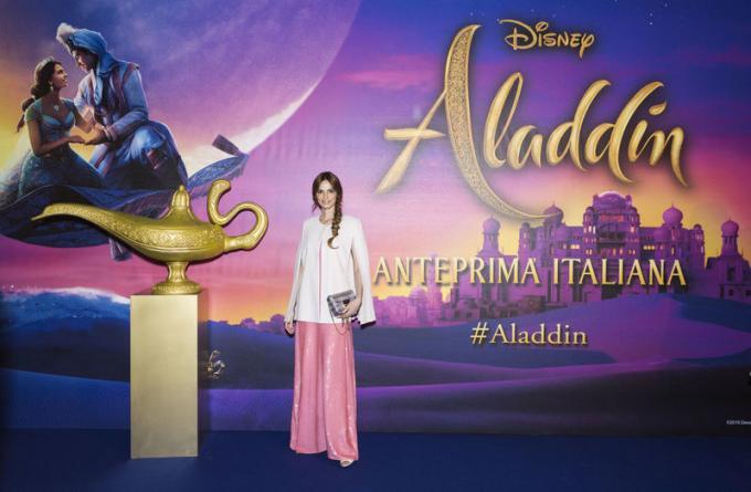 Gaia Amaral all'anteprima di Aladdin a Milano.