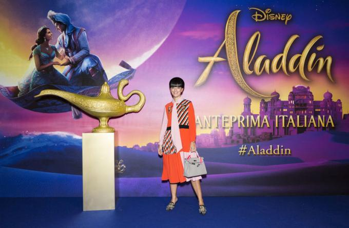 Laura Comolli all'anteprima di Aladdin a Milano.