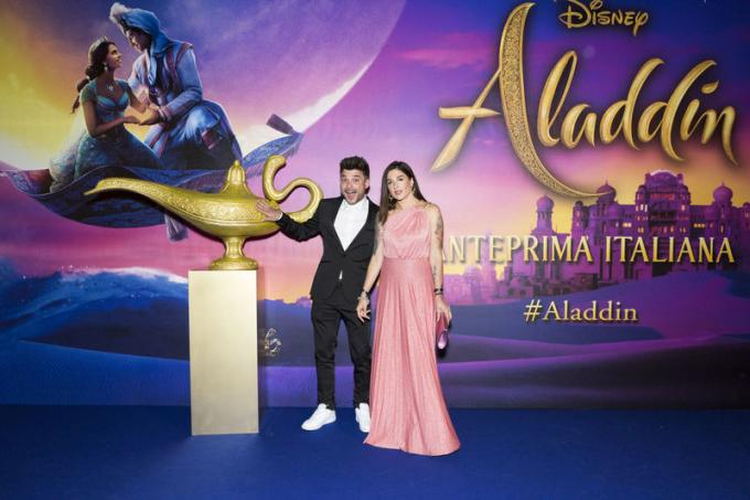 Luca e Katy all'anteprima di Aladdin a Milano.