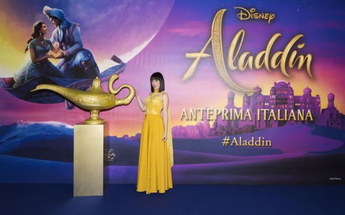 Naomi Rivieccio all'anteprima di Aladdin a Milano.