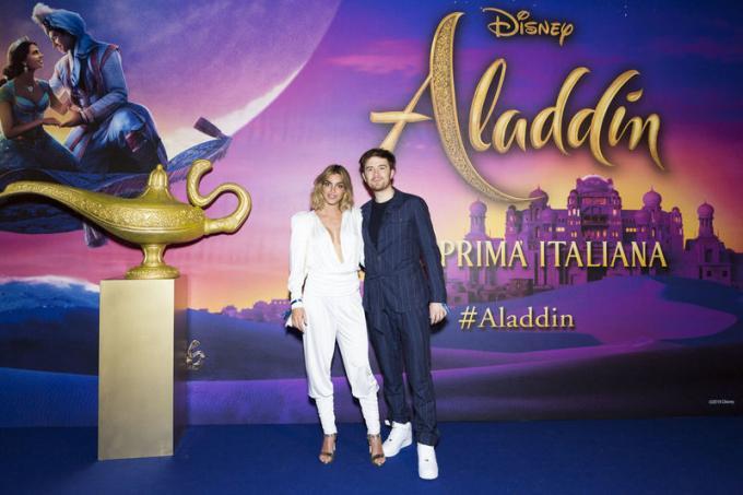 Nicole Mazzocato e Francesco Sole all'anteprima di Aladdin a Milano.