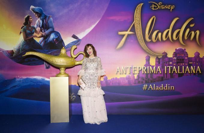 Nuncia Cillo all'anteprima di Aladdin a Milano.