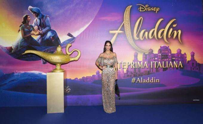 Sofia Dalle Rive all'anteprima di Aladdin a Milano.