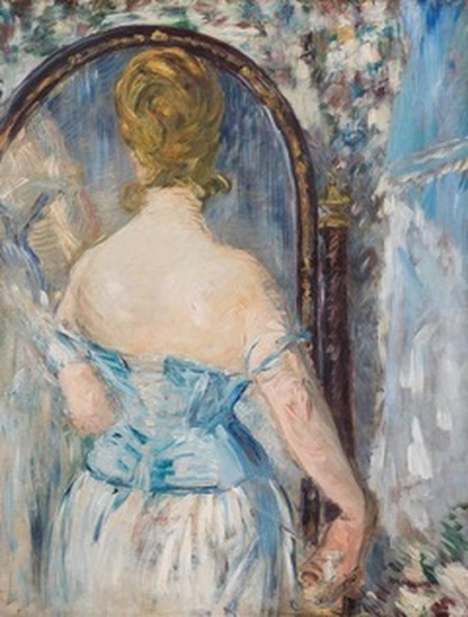 Édouard Manet (1832-1883) Davanti allo specchio, 1876  (Devant la glace) Olio su tela, 92,1 x 71,4 cm Solomon R. Guggenheim Museum, New York Thannhauser Collection, Donazione, Justin K. Thannhauser, 1978 78.2514.27
