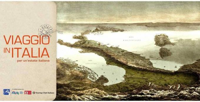 Le locandine turistiche di Viaggio in Italia - F. Corbetta, Veduta prospettica d'Italia, 1853 | SAB dell'Umbria e delle Marche