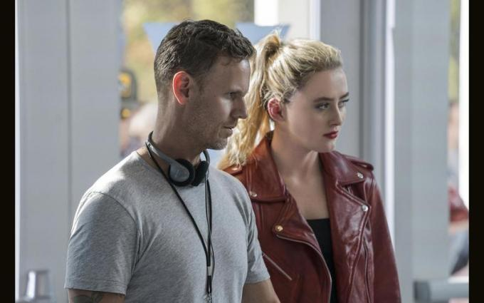 (from left) Co-writer/director Christopher Landon and Kathryn Newton on the set of Freaky. © 2020 UNIVERSAL STUDIOS