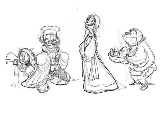 Personaggi. Disegno di Giada Perissinotto