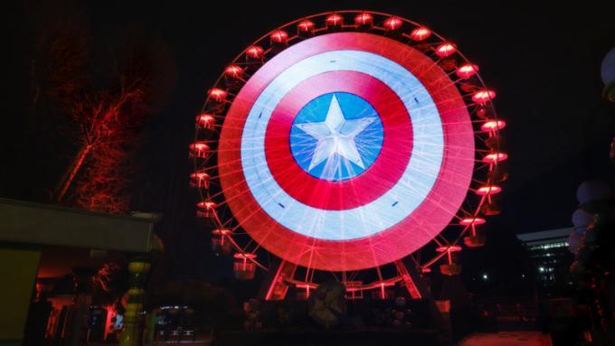 Lo scudo di Captain America a Roma, Italia - Ruota panoramica del Luneur